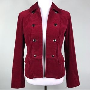 Talbots Red Velvet Crop Jacket Silver Buttons